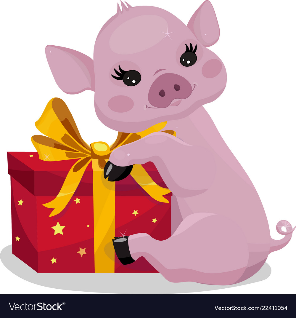 Little piglet with a gift pink pig with red box