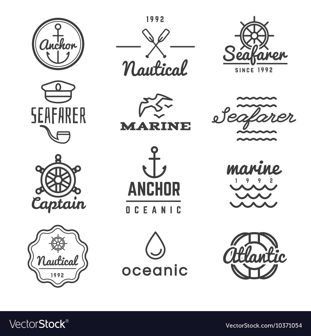 Nautical logos in hipster style