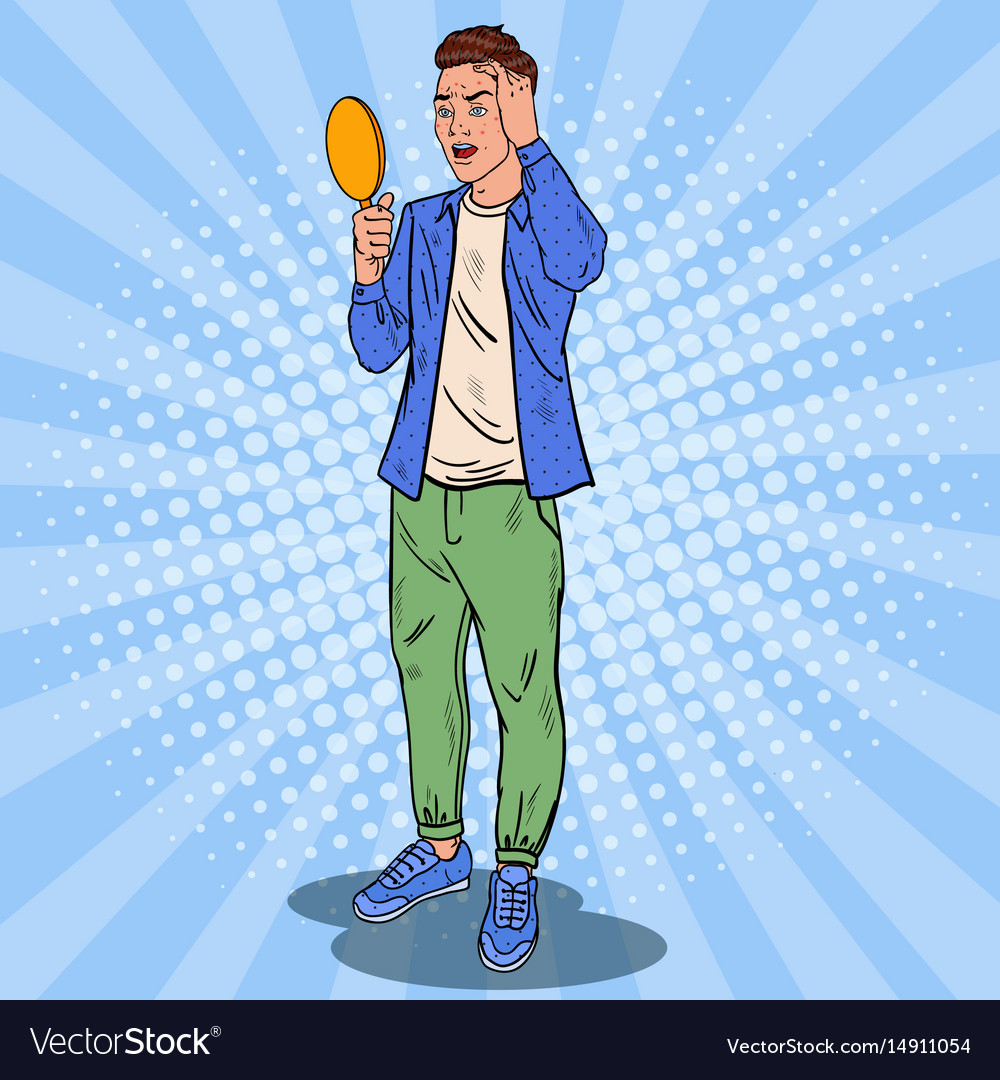 Pop art teenager confused about the pimples vector image