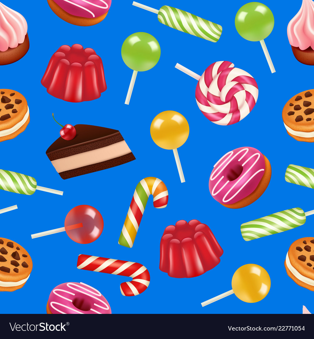 Realistic sweet candy pattern or background
