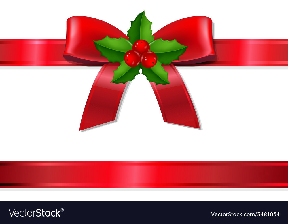 Retro Xmas Ribbon With Holly Berry vector image