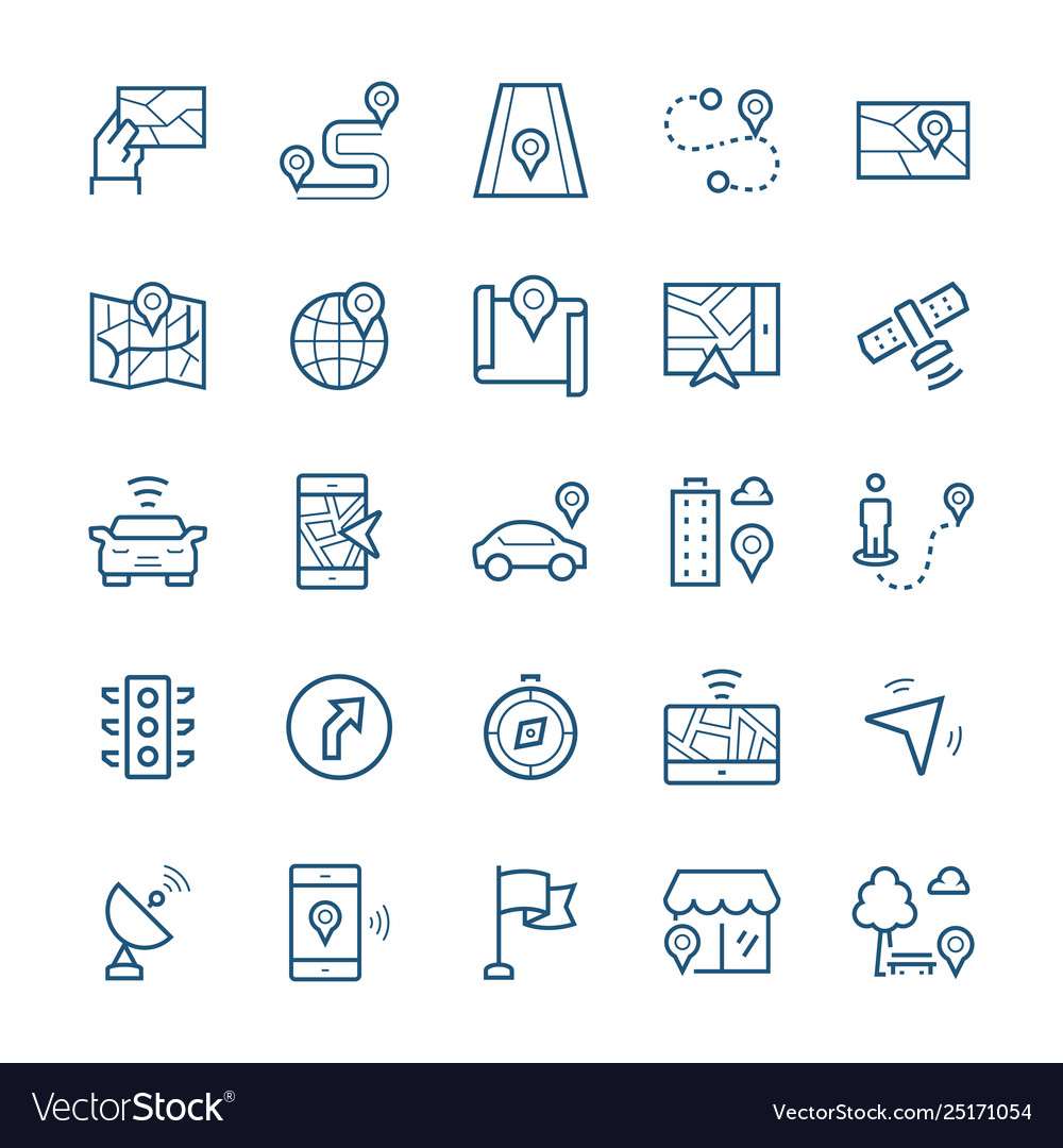 Simple icon set navigation items in thin line