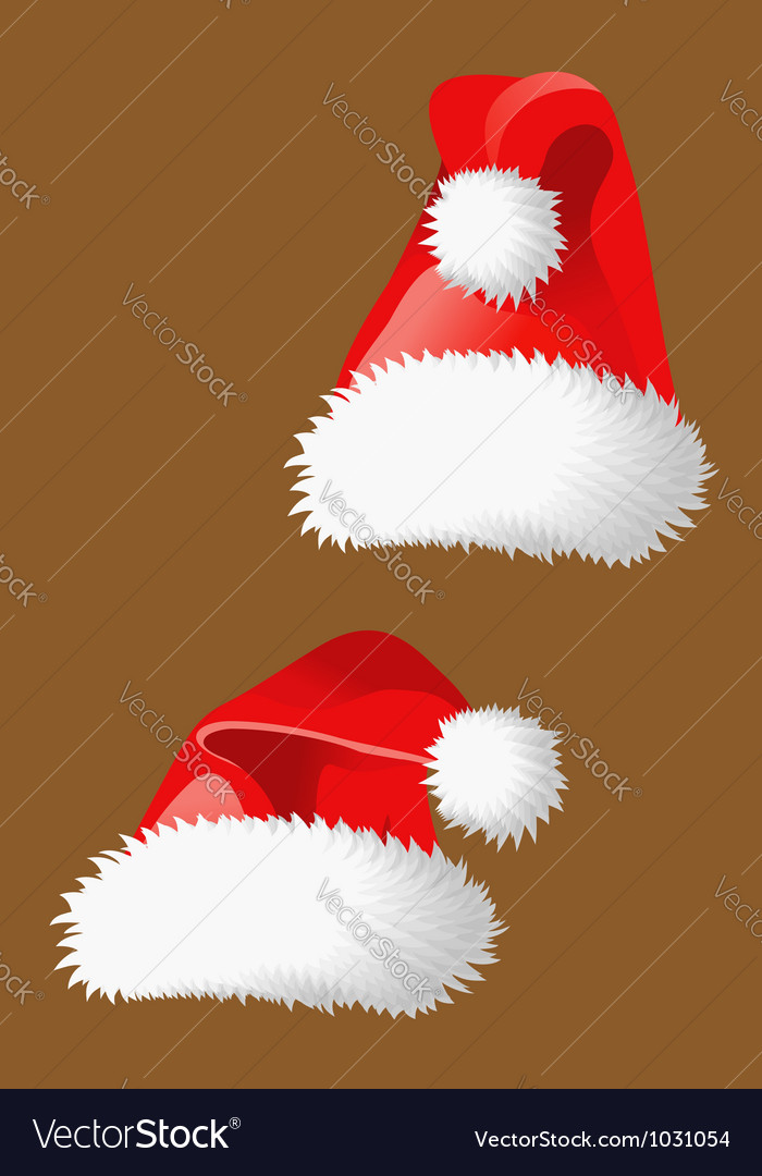 Two red christmas hats of Santa Claus