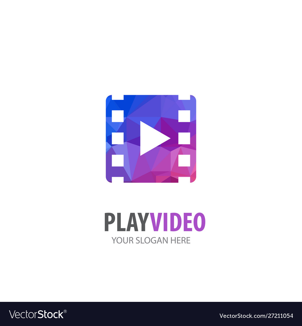 Video play logo for business company simple video