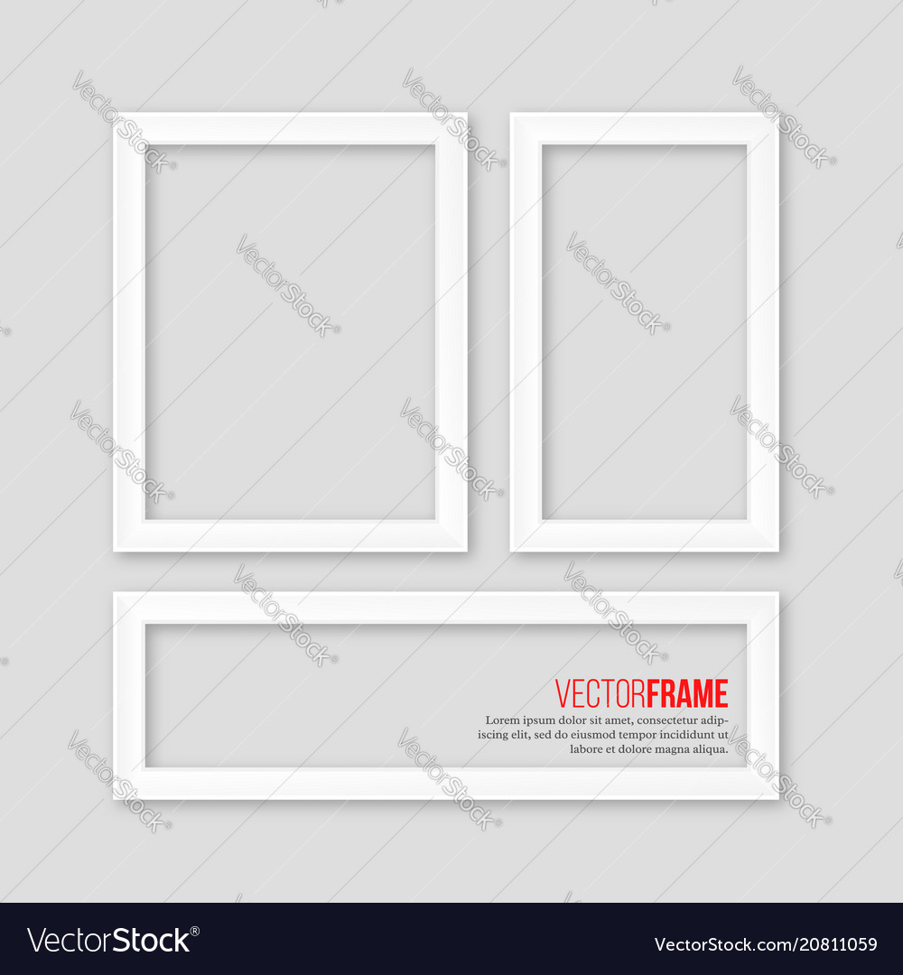 3d white realistic frames with shadow on grey