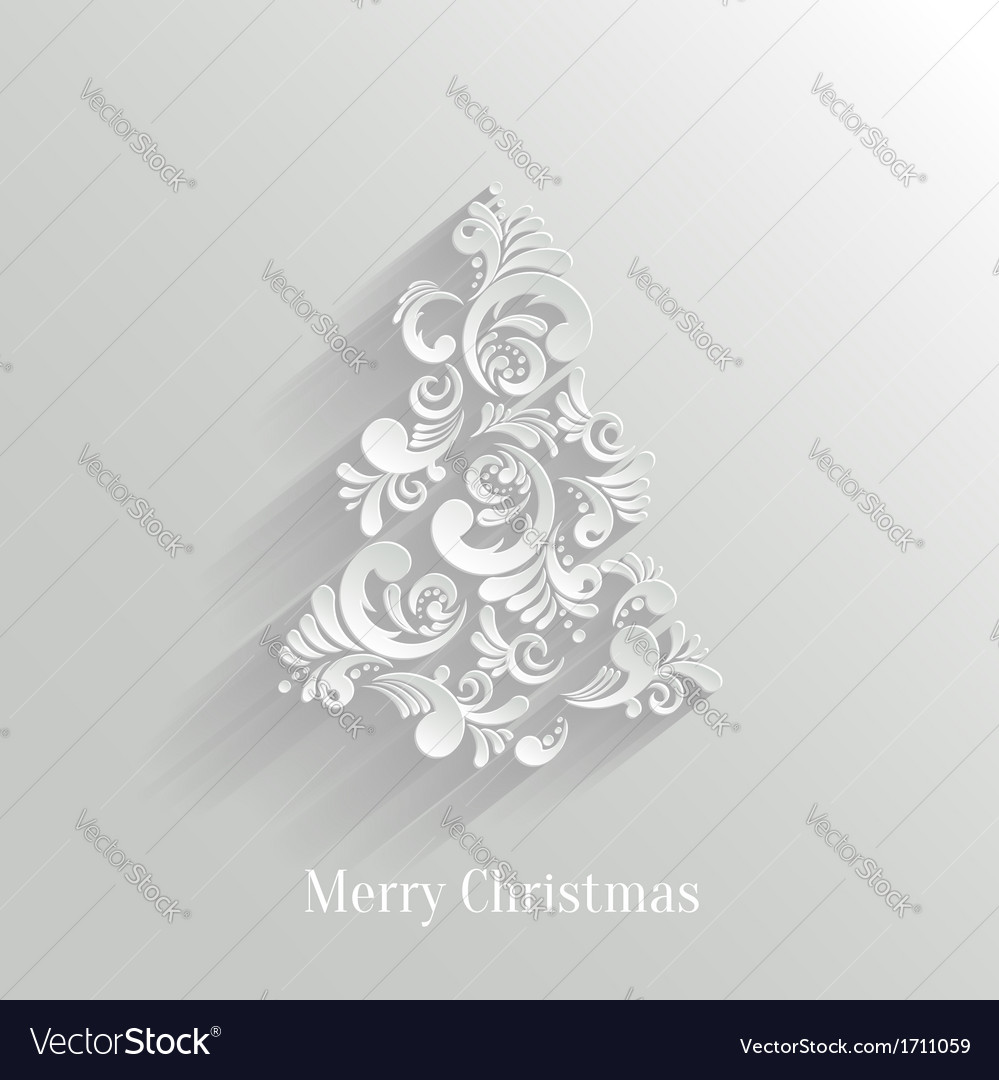 Absrtact Floral Christmas Tree Background Trendy