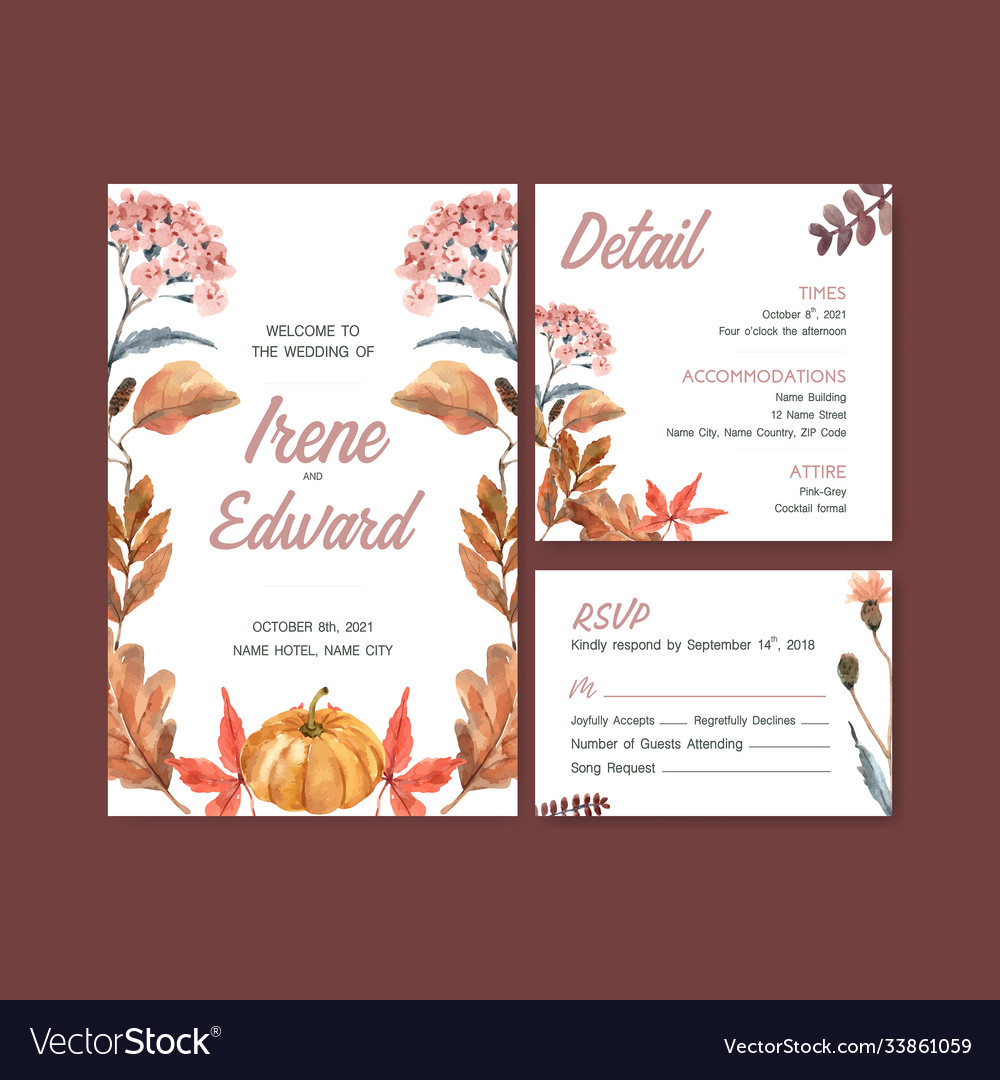 Autumn daily template design for wedding card
