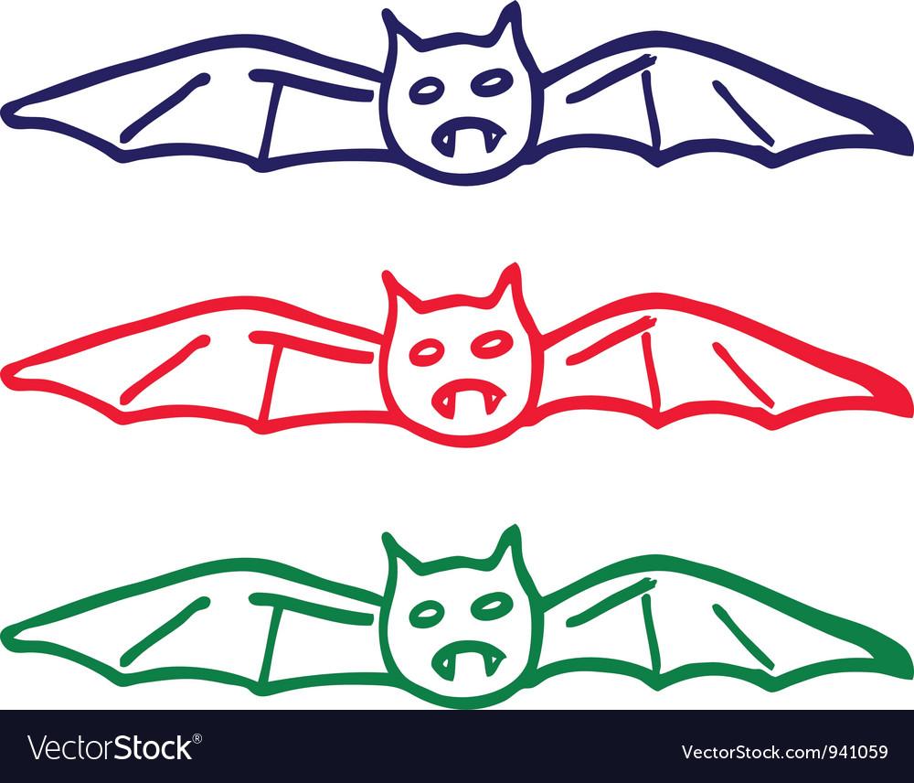Bat doodle vector image