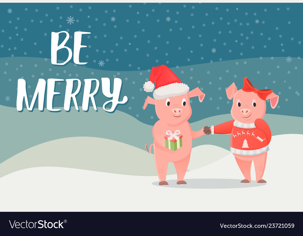 Be merry poster piglet new year symbol with gift