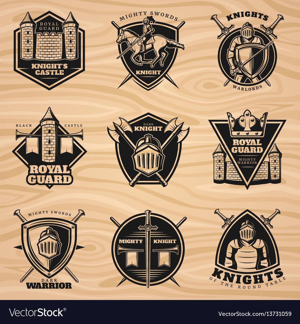 Black vintage knights emblems set