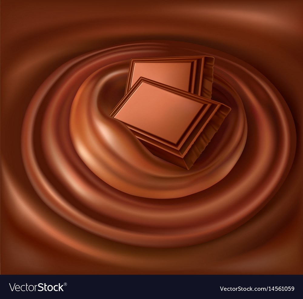 Chocolate background swirl and chocolate candy