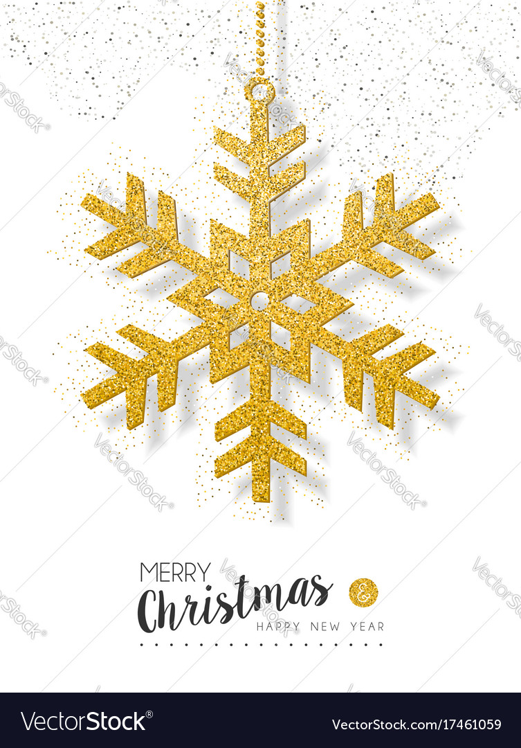 Christmas new year gold glitter snow greeting card