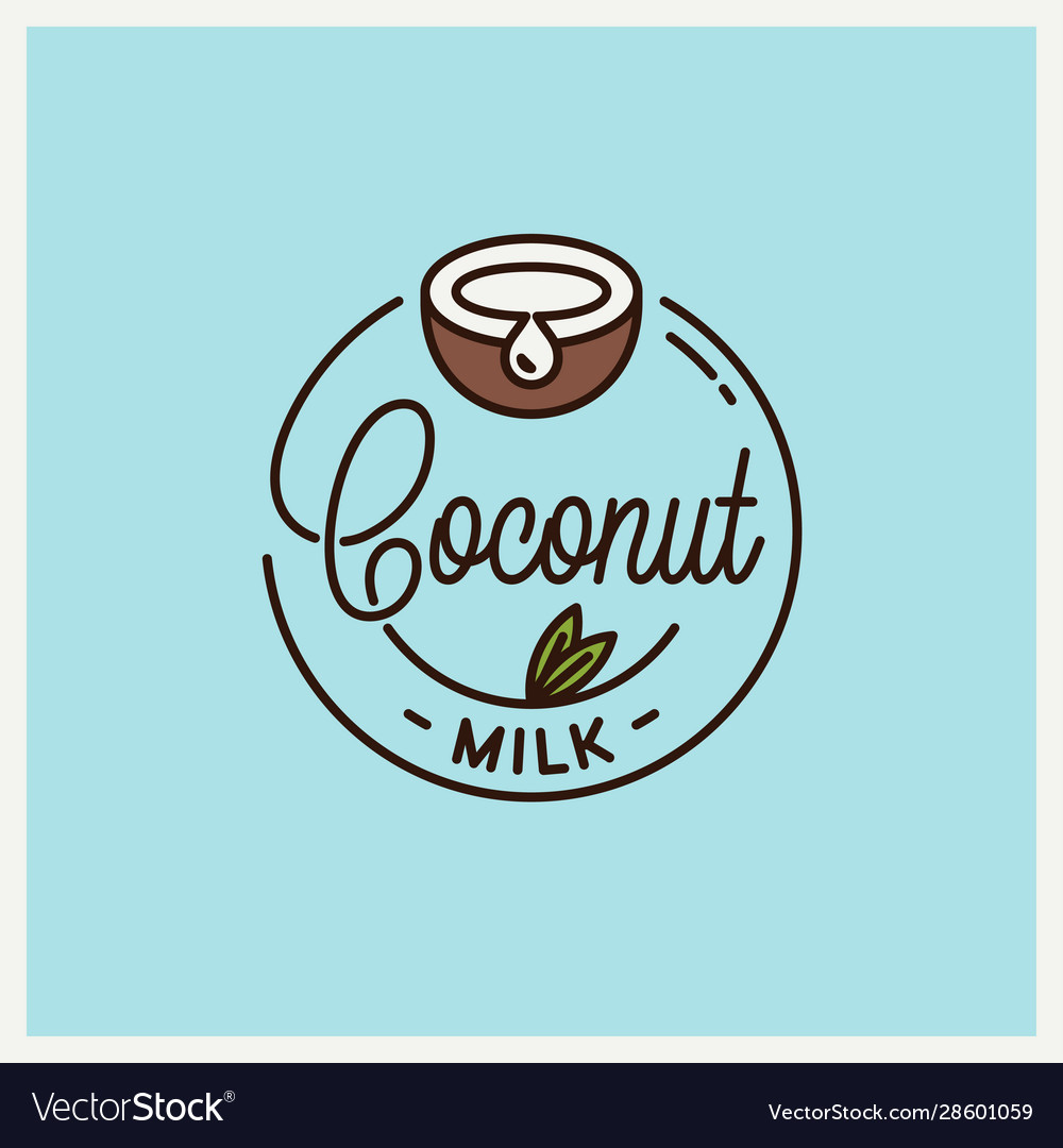 Coconut milk logo round linear coconut juice