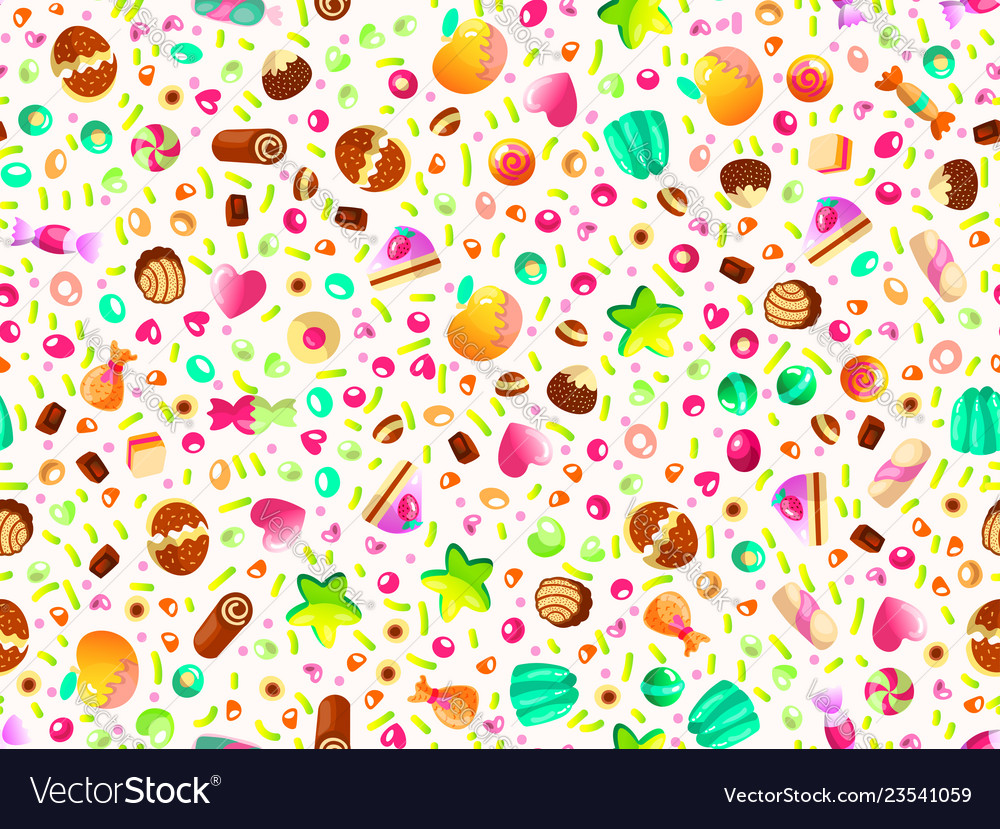 Cute seamless pattern with colorful sweets cakes