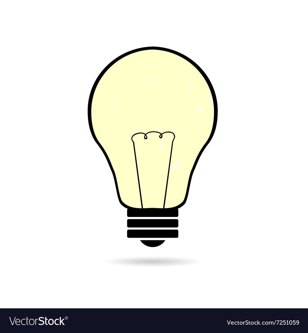 Lightbulb cartoon on white