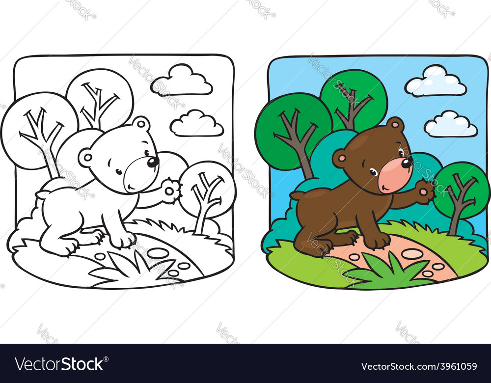 Little Teddy Bear Coloring Book Royalty Free Vector Image