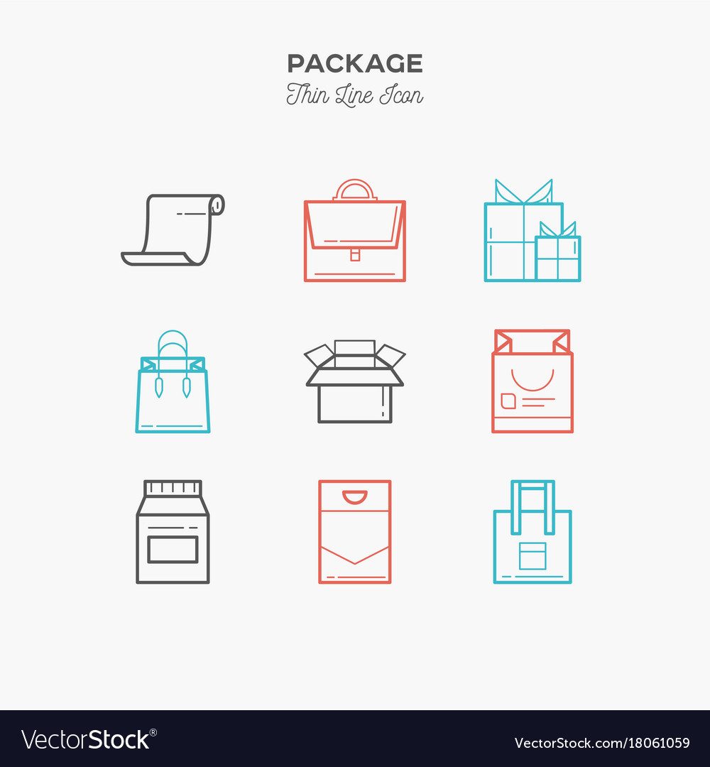 db4b76d090 Package gift box thin line color icons set Vector Image