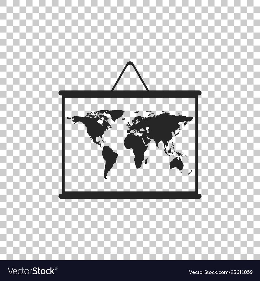 World map on a school blackboard icon isolated
