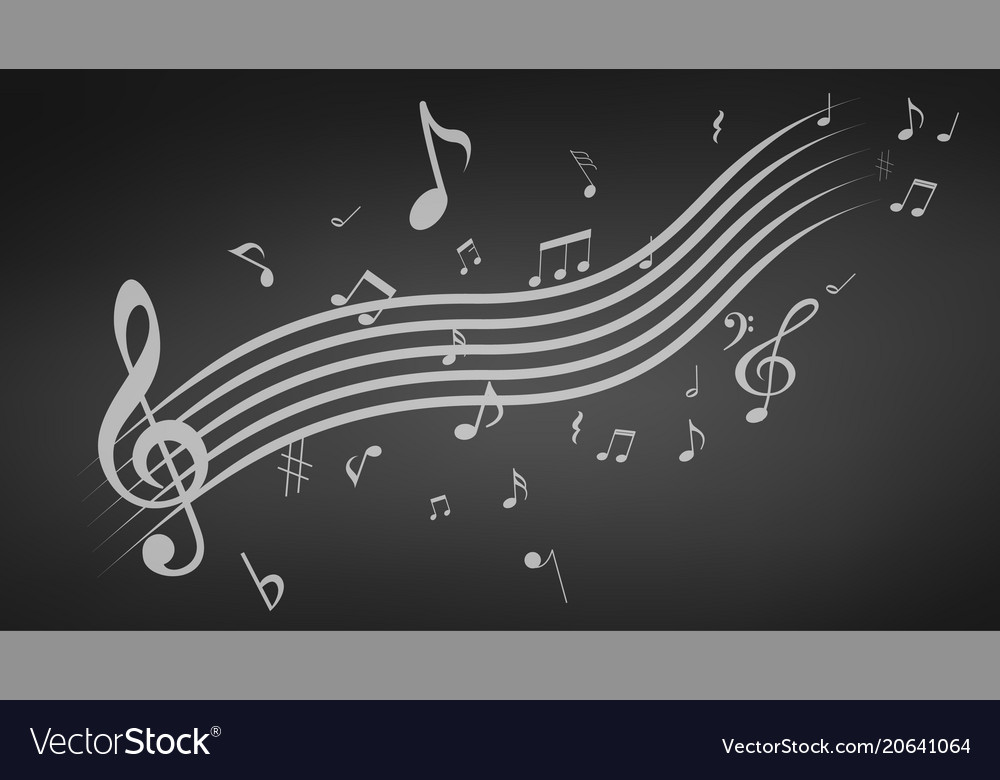 Black abstract music background vector image
