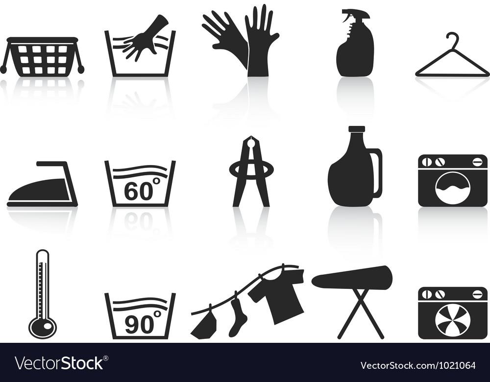 Black laundry icons set vector image