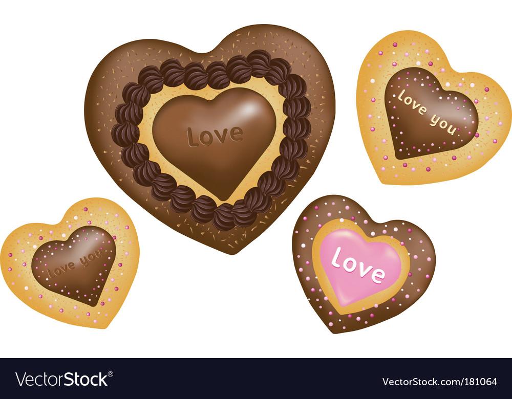 Chocolate cookies hearts shape vector image