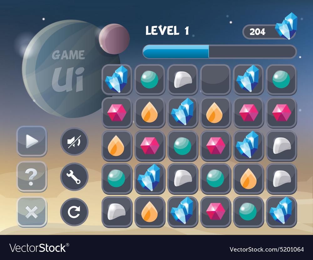 Game UI Design Elements Royalty Free Vector Image - Game ui design