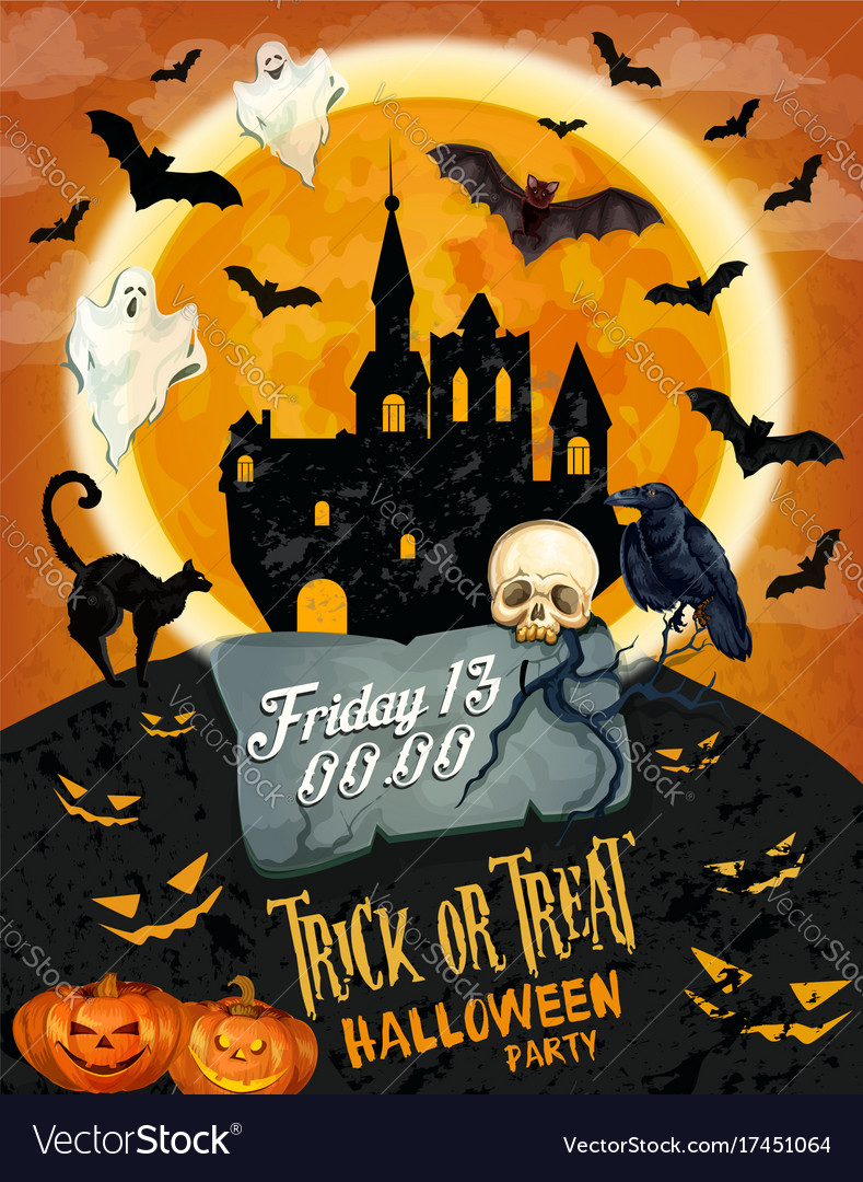 Halloween horror party poster with ghost and house vector image