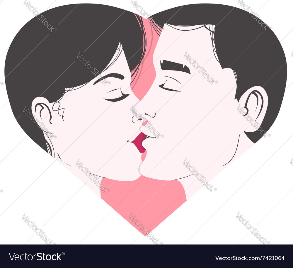 Kissing young couple inside heart symbol of love vector image