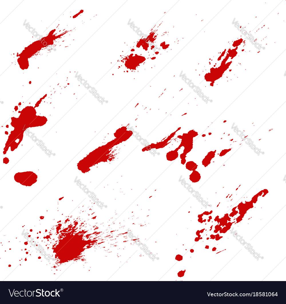 Set of blood splashes isolated on white
