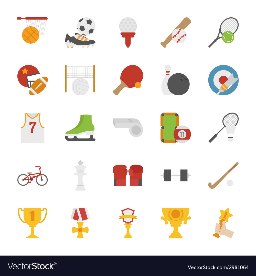 Sport icons flat design vector image