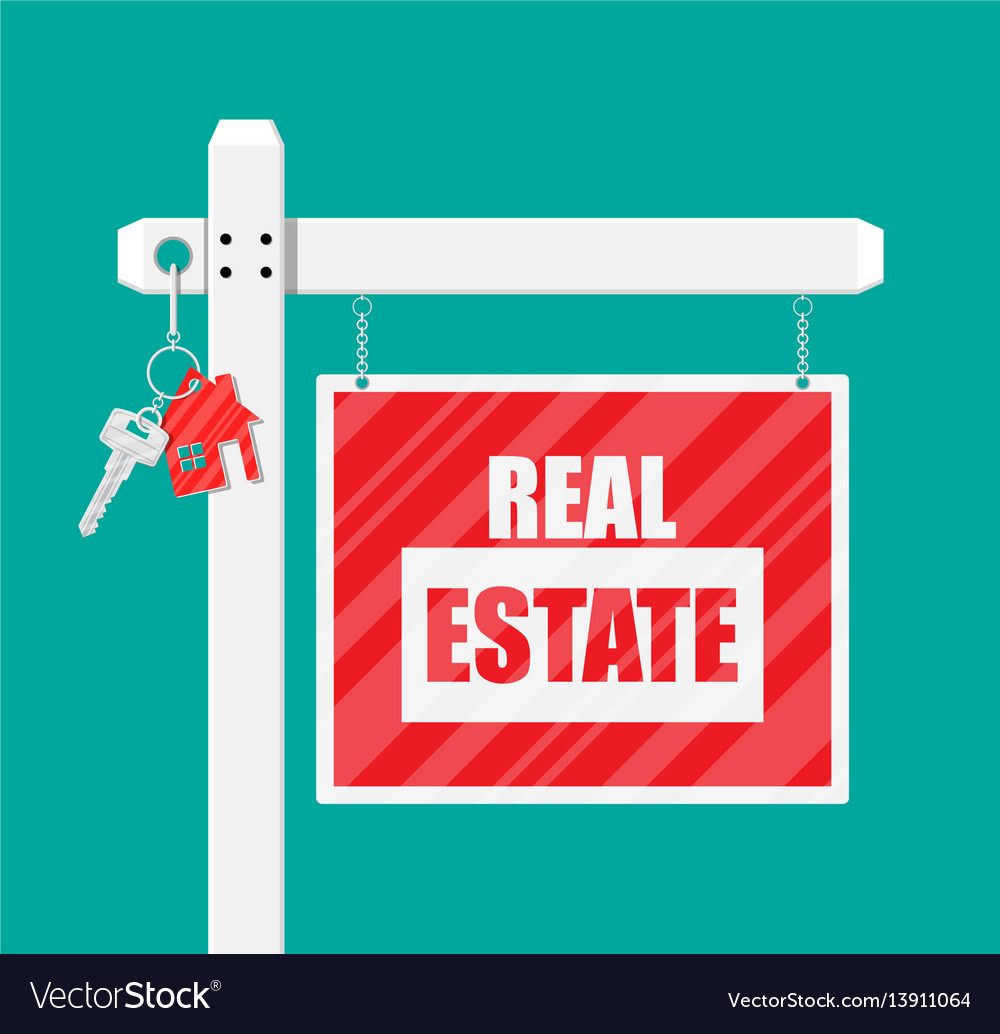 Wooden placard real estate sign vector image