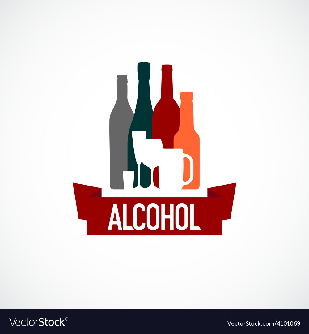 Alcohol sign Different bottle and glass