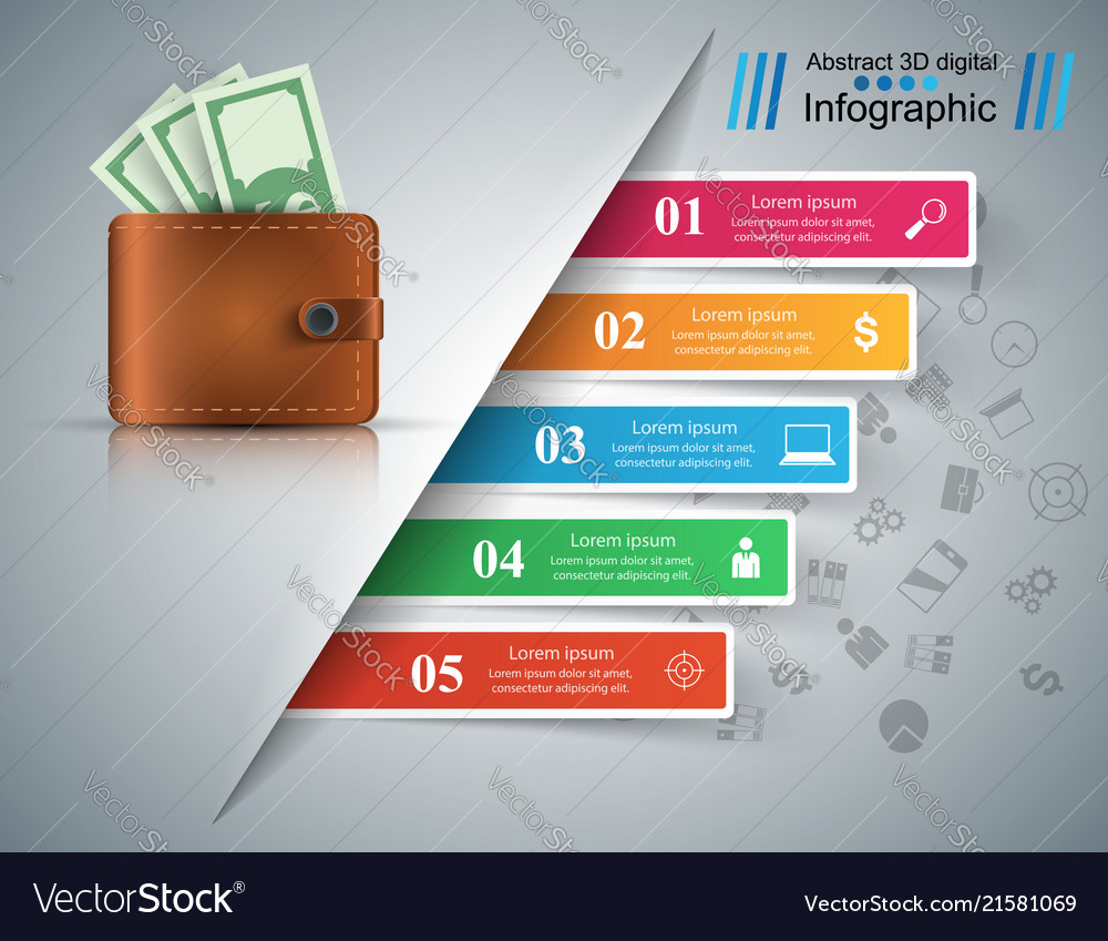 Business infographics dollar money wallet icon