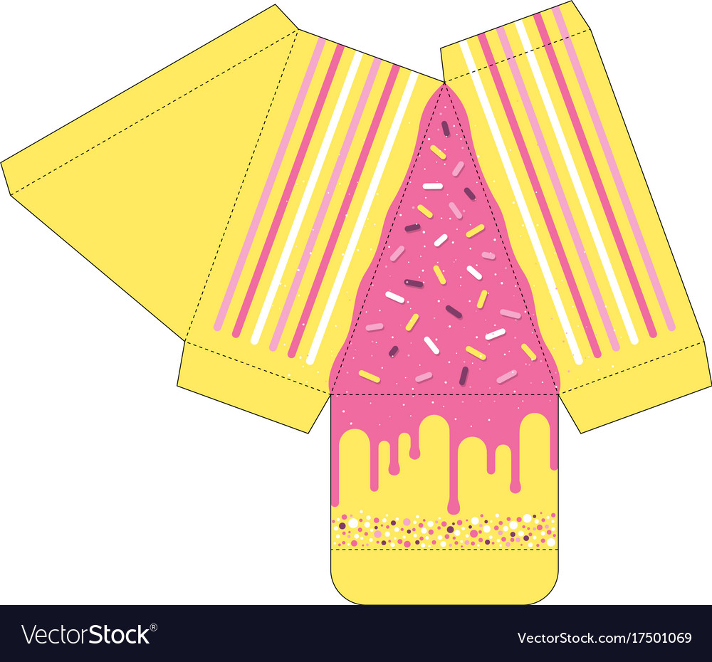 cake slice box cutout template favor box vector image