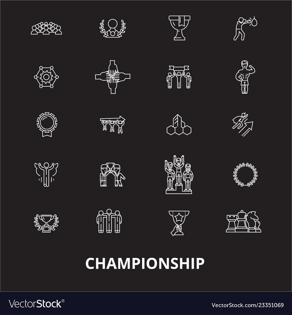 Championship editable line icons set on