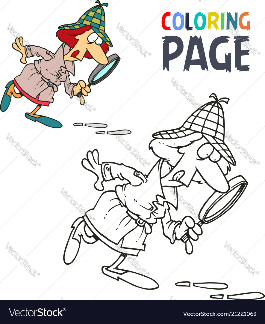 Detective women cartoon coloring page
