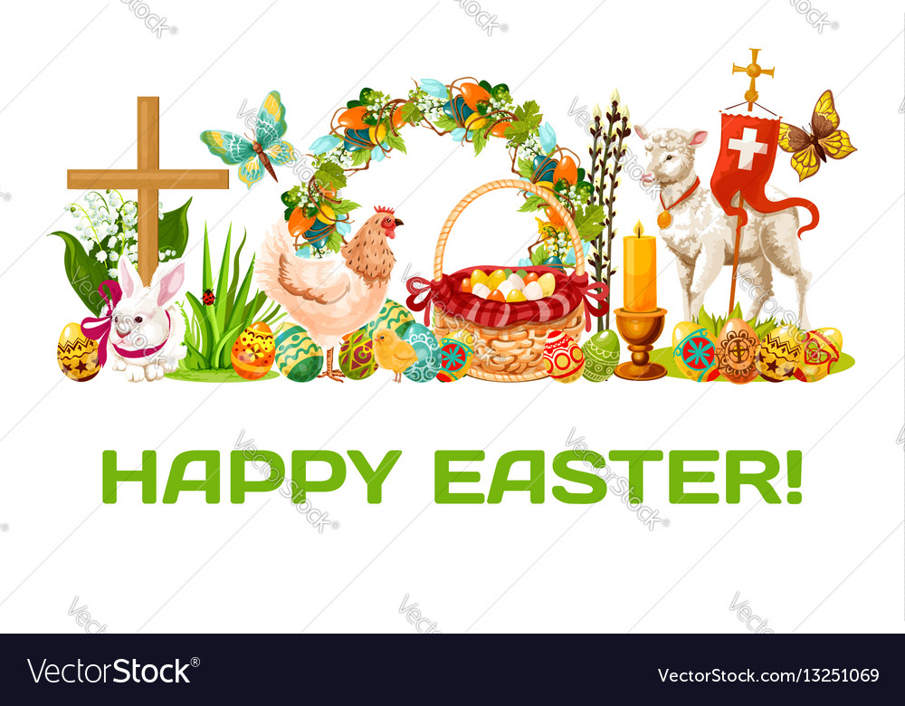 Easter holiday banner for greeting card design vector image