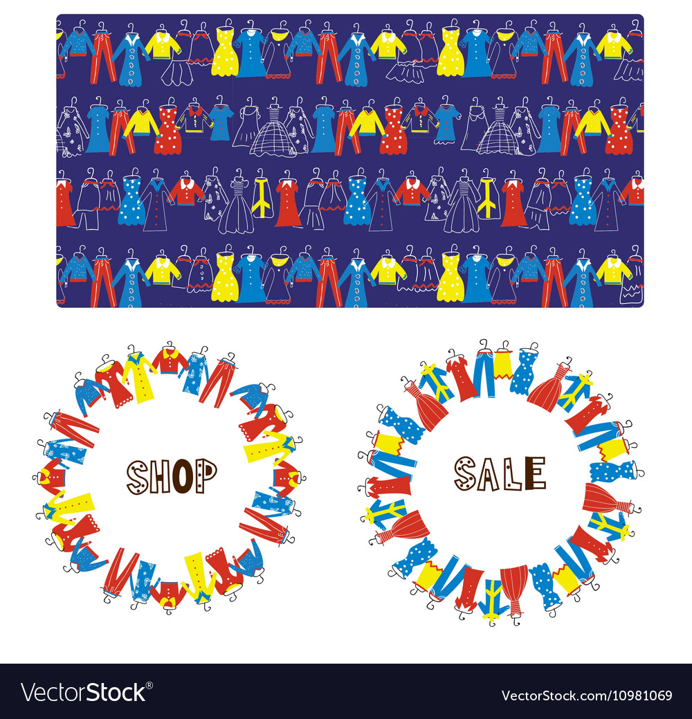 Fashion tailor sale banners frame and pattern vector image
