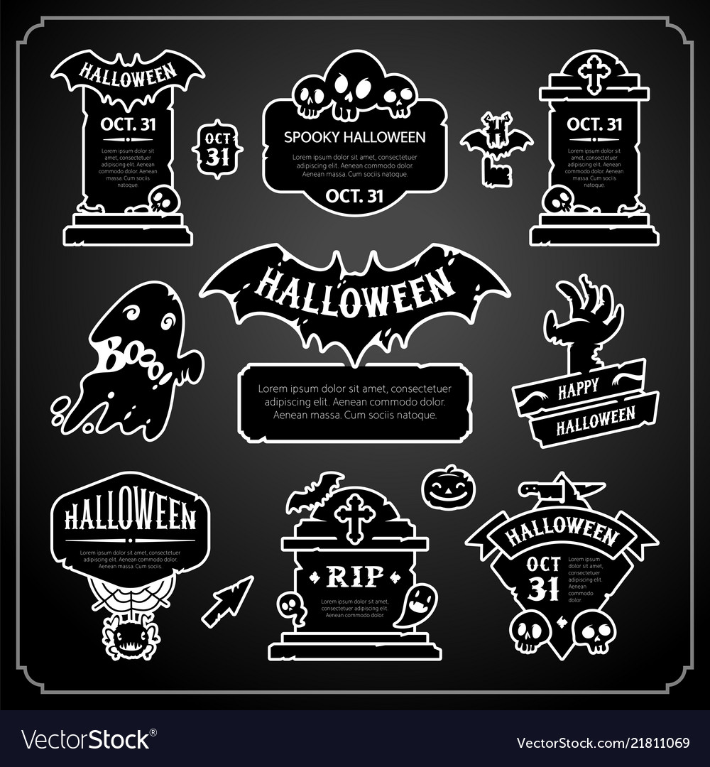 Halloween design labels black and white set