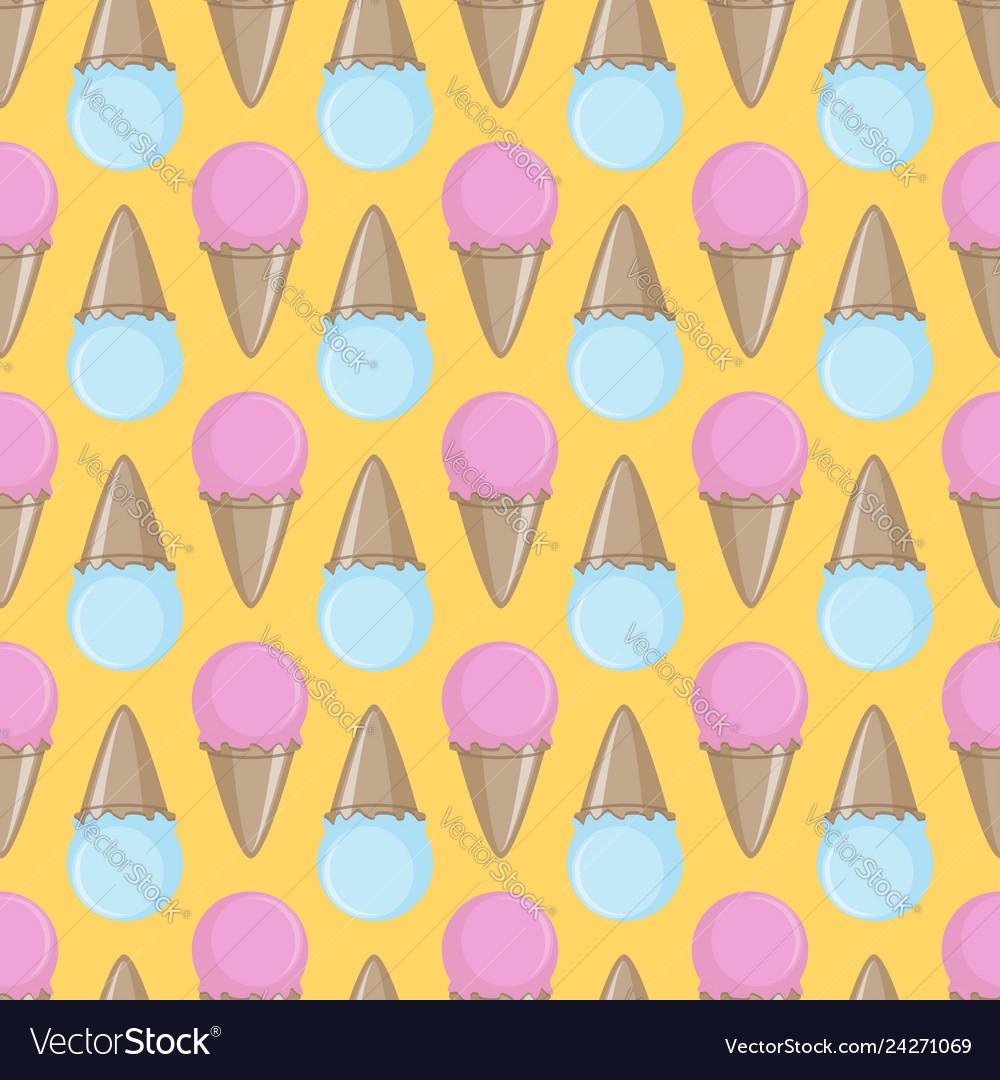 Ice cream cone seamless pink yellow blue pattern