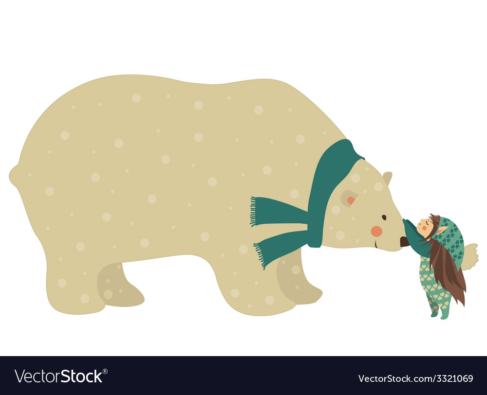 Little angel and polar bear