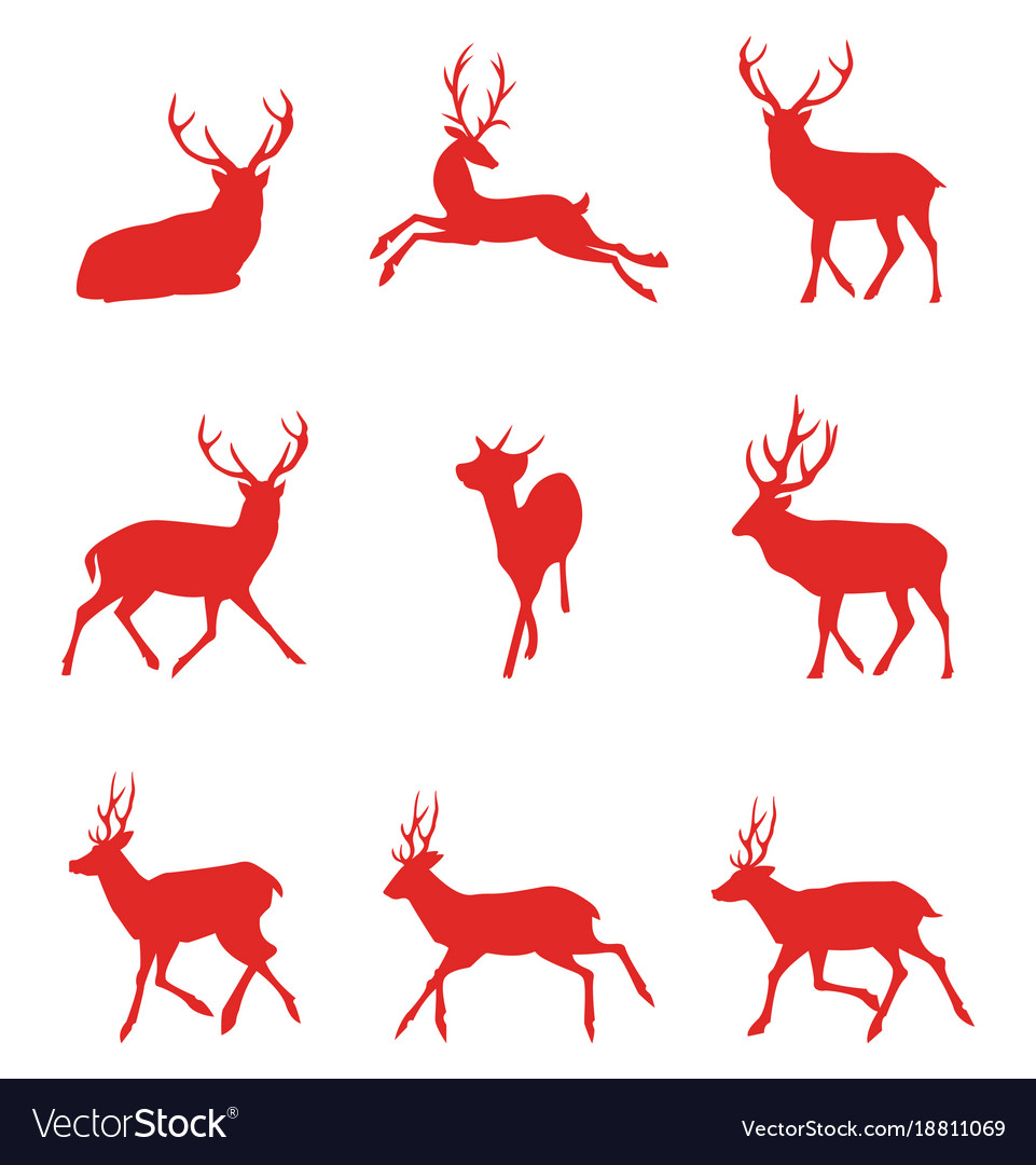Red silhouettes of deer
