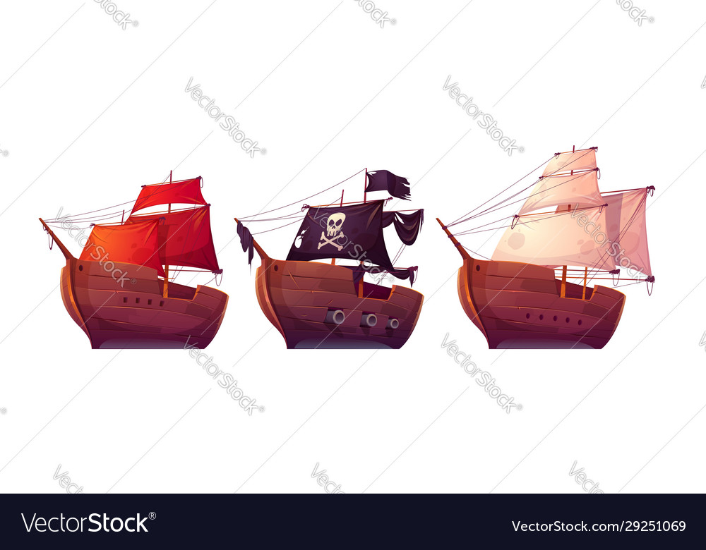 Sail boats with white red and black sails