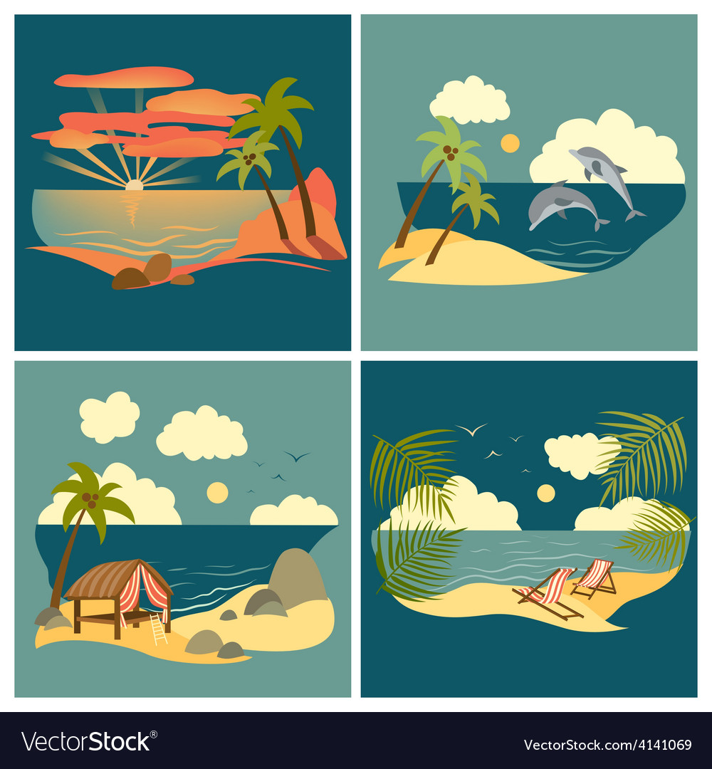 Sea landscape icons set