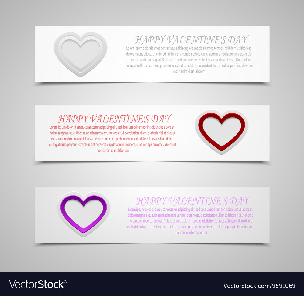 Set of banners Valentines Day Eps 10 vector image
