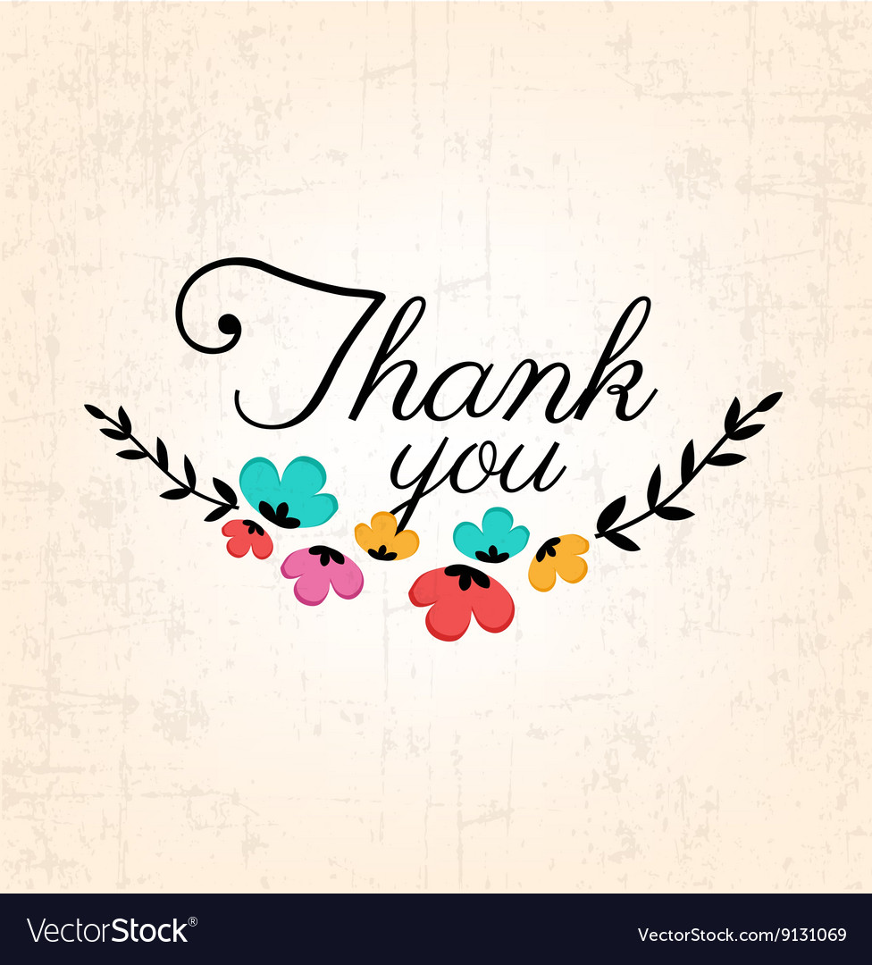Thank you calligraphic design with flowers