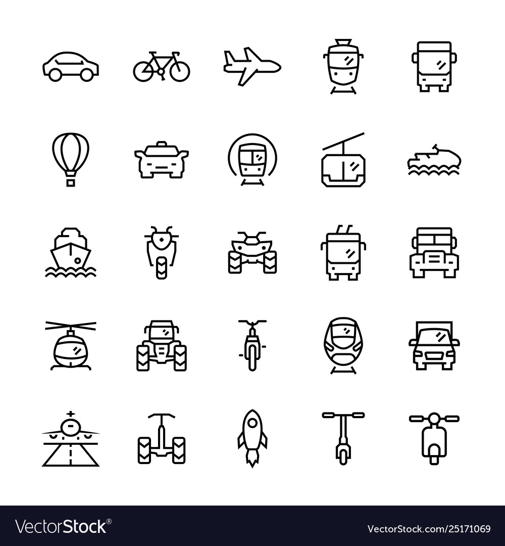 Transportation icons set in thin line style