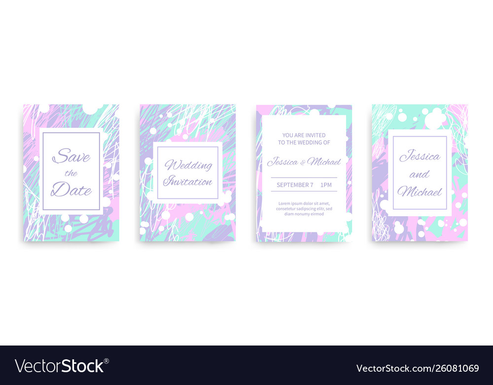 Wedding invitation cards set with abstract