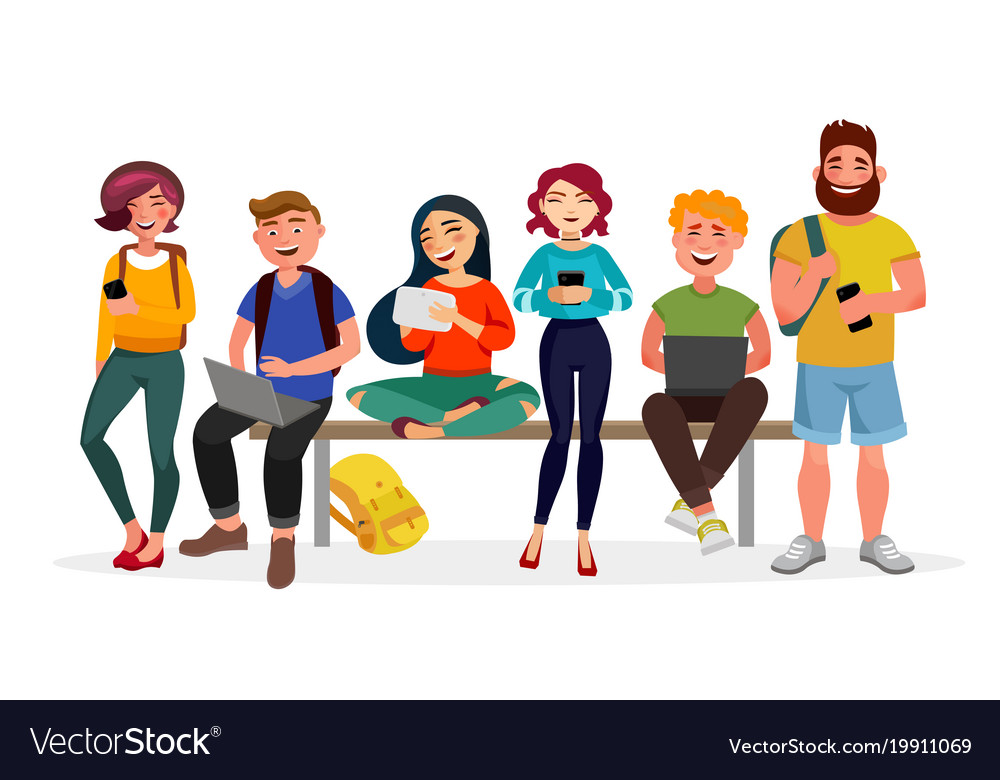 Young people gather together with gadgets youth vector image
