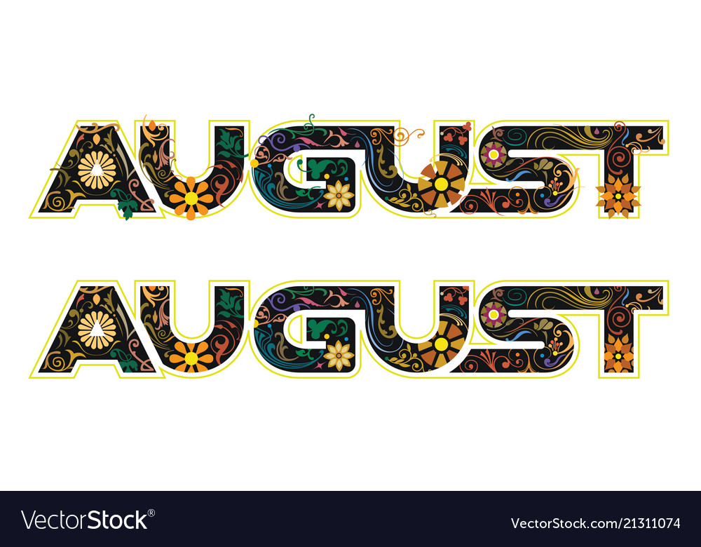 August word decorated with flowers and leaves
